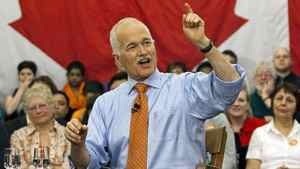 NDP Leader Jack Layton fields a question at a town-hall meeting while campaigning at the University of Toronto on April 26, 2011.