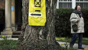 A voter leaves a Toronto polling station during the federal election on May 2, 2011.