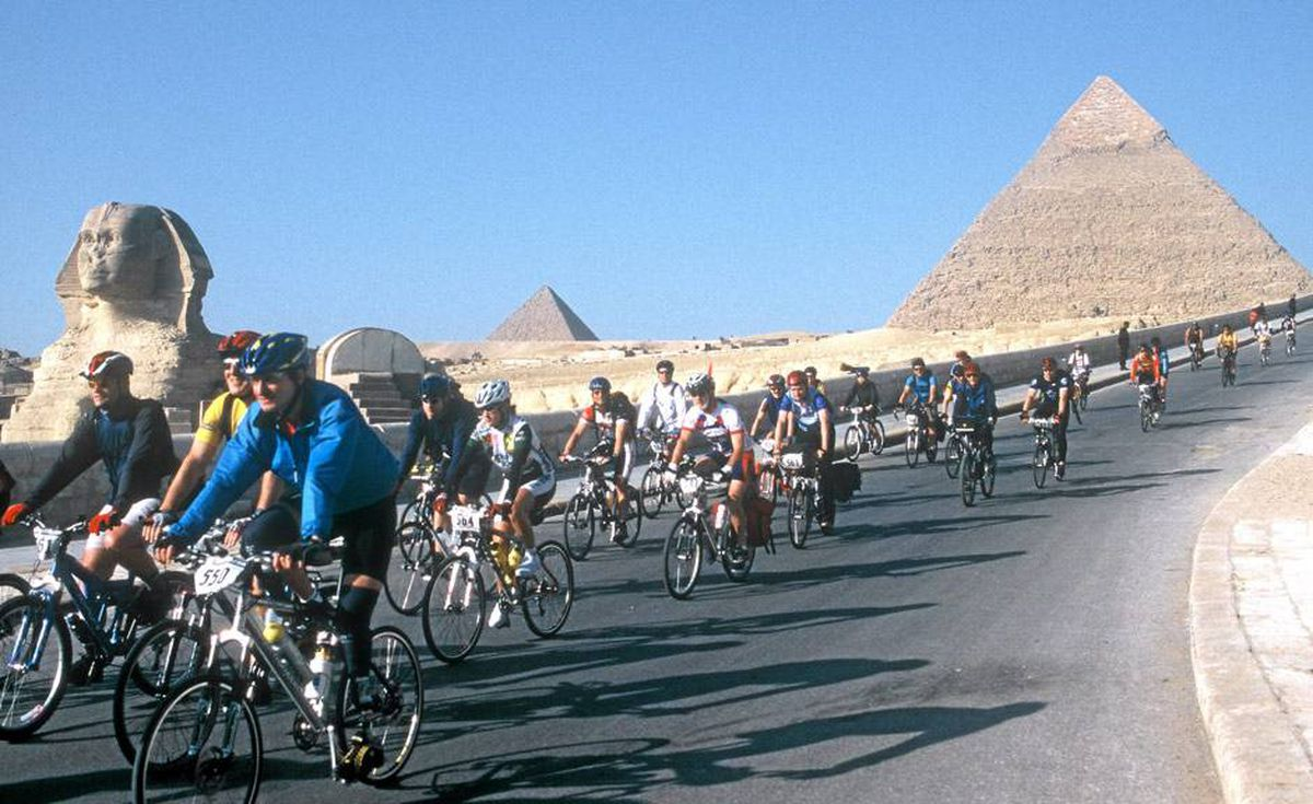 Tour d'Afrique riders on their way out of Egypt.
