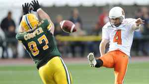 Edmonton Eskimos' Justin Cooper, left, attempts to block the kick from BC Lions' Paul McCallum, during the second half CFL action in Edmonton on Sunday, July 4, 2010. THE CANADIAN PRESS/John Ulan
