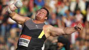 Dylan Armstrong of Canada competes during the shot put event at the Golden Spike International track and field meeting in Ostrava May 25, 2012.