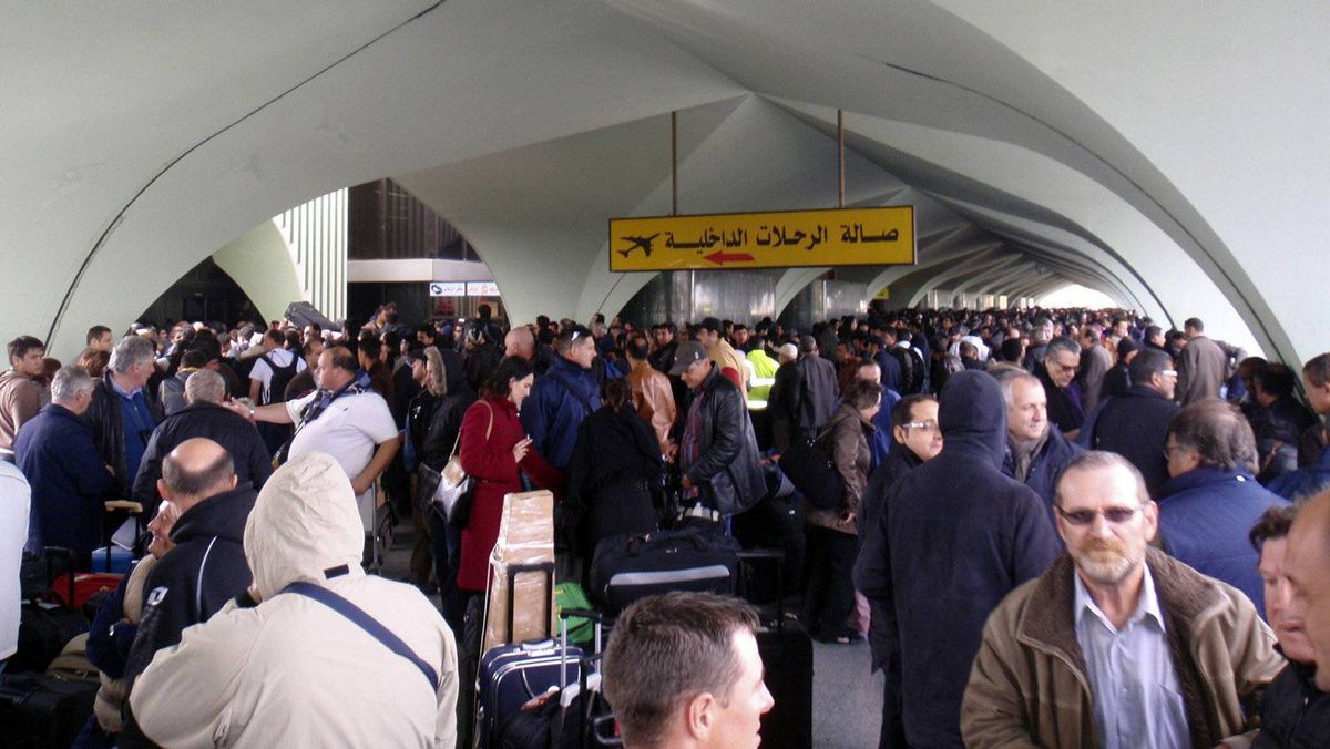 Tripoli airport, packed with people attempting to leave Libya, on Feb. 22, 2011.