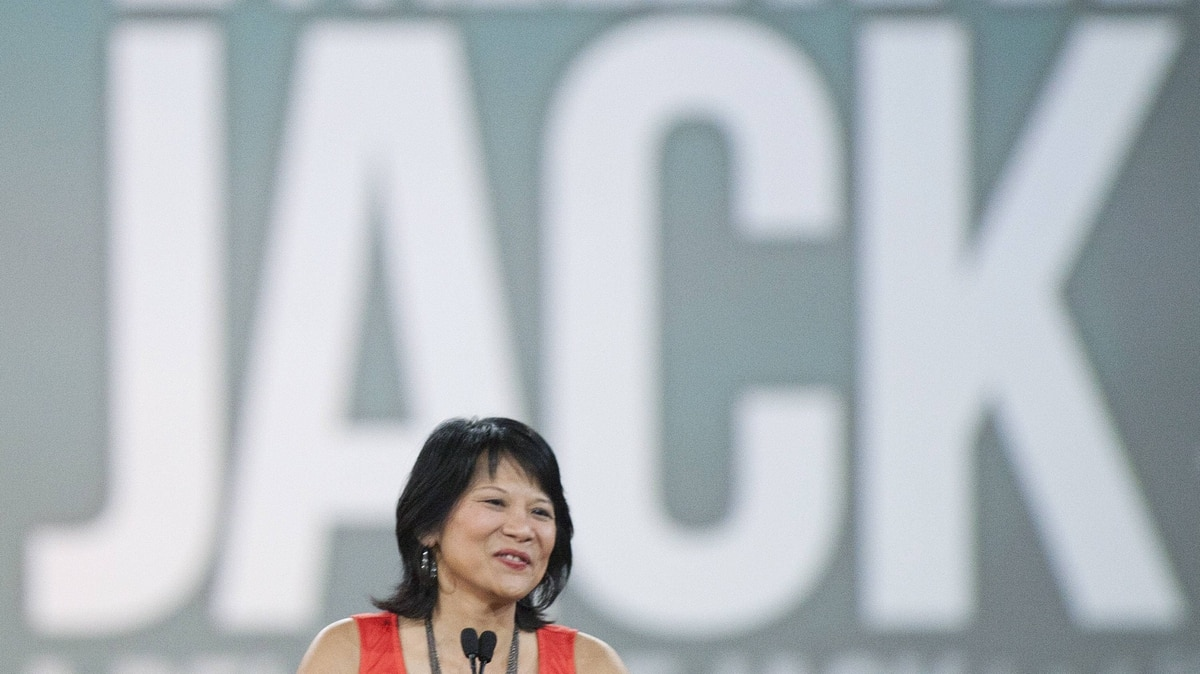 Olivia Chow speaks during a tribute to her late husband and NDP leader Jack Layton, who passed away last year, during the NDP leadership convention in Toronto on Friday, March 23, 2012.