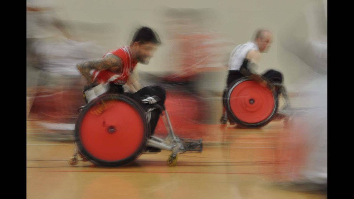 Competitors in a Wheelchair Rugby Tournament in Calgary