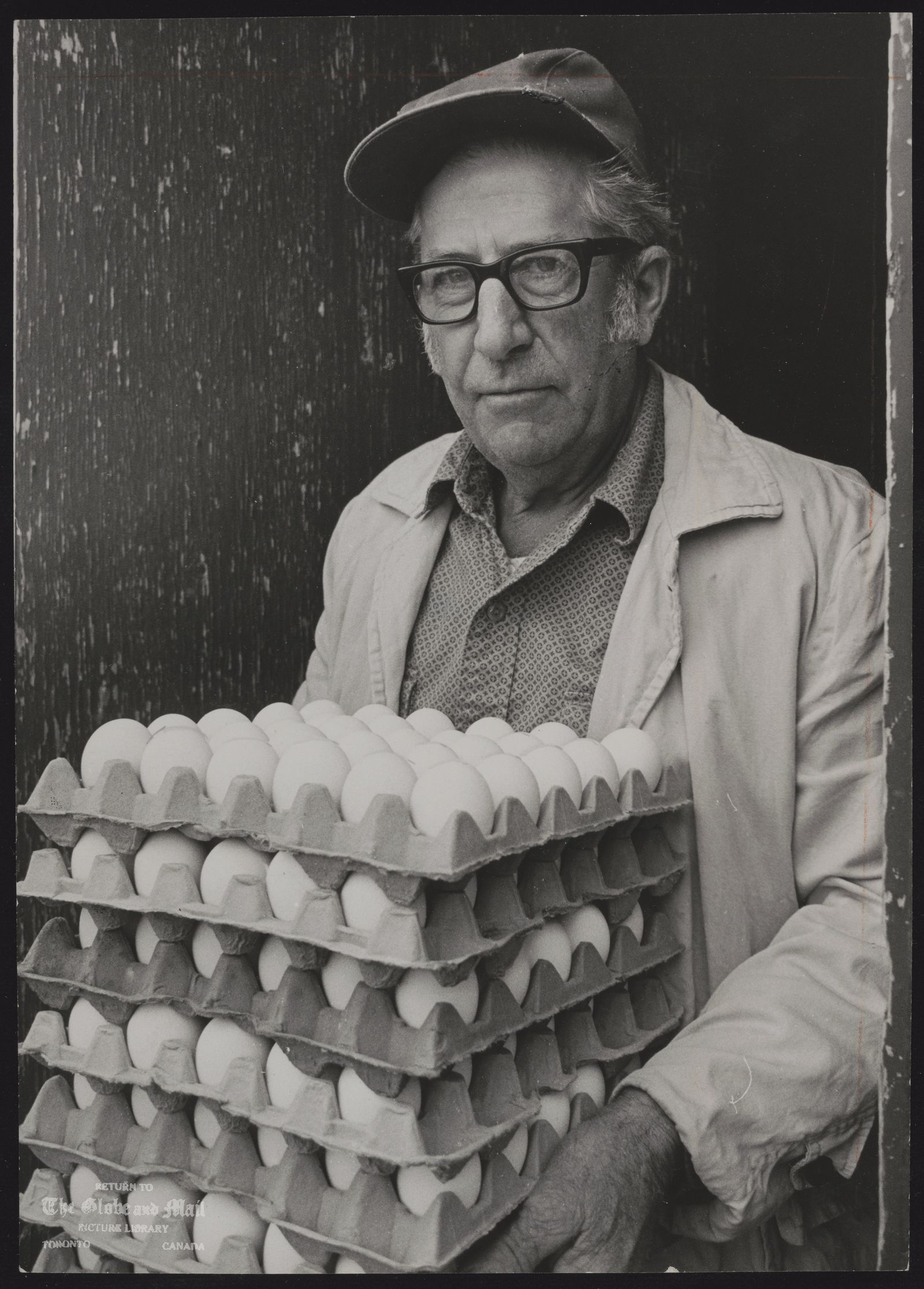 EGGS (Ronald talker carries eggs from henhouse on his chicken farm)