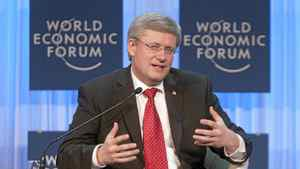 Canadian Prime Minister Stephen Harper delivers his address to business leaders at the World Economic Forum in Davos, Thursday January 26, 2012.