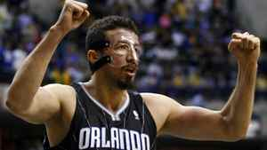 Orlando Magic forward Hedo Turkoglu of Turkey celebrates near the end of Game 1 of their first round NBA Eastern Conference basketball playoffs against the Indiana Pacers in Indianapolis April 28, 2012. The Magic won 81-77. REUTERS/Brent Smith