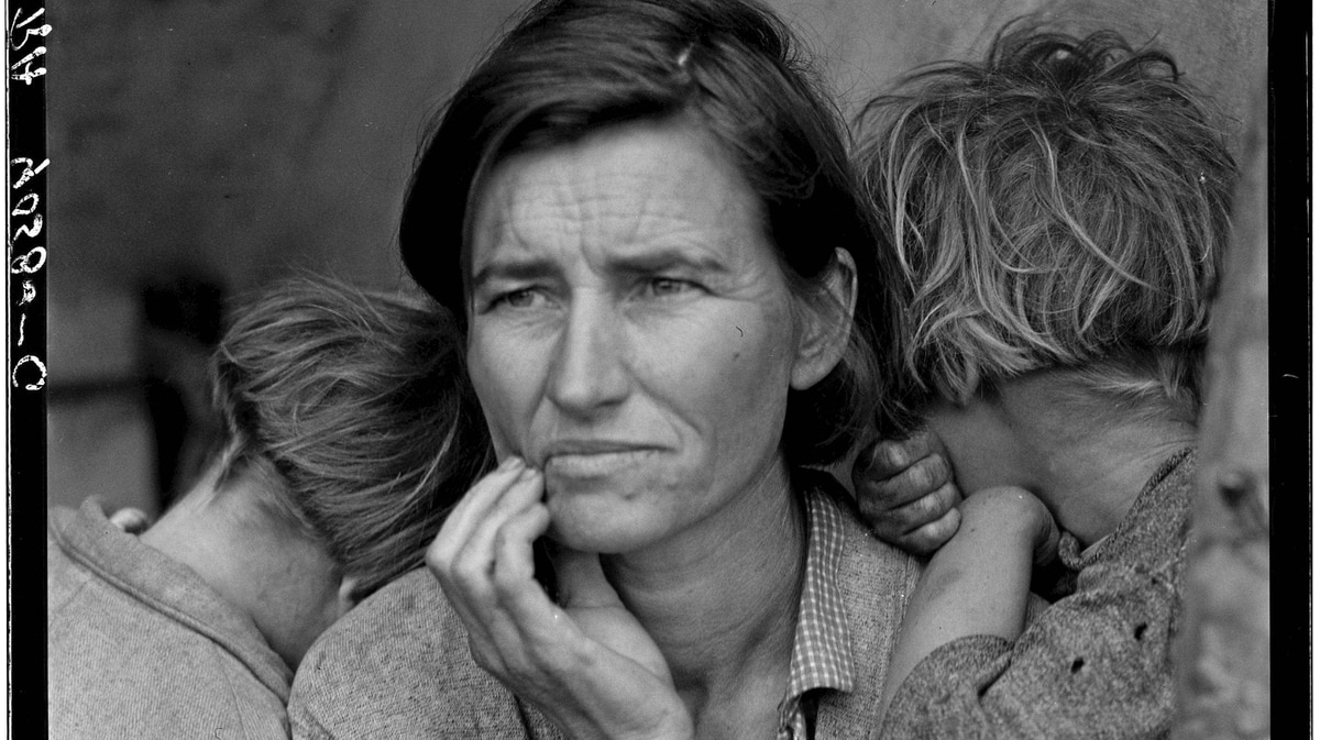 Migrant agricultural worker's family. Seven children without food. Mother aged thirty-two. Father is a native Californian. Nipomo, Calif.