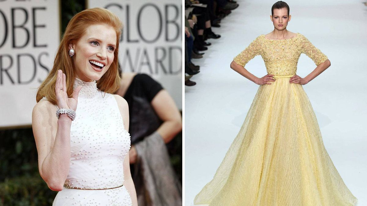 Jessica Chastain in Elie Saab More often than not, Chastain goes for slightly awkward dresses in drab colours (see above). This delicate yellow number, on the other hand, would be stunning with her red hair and green eyes.