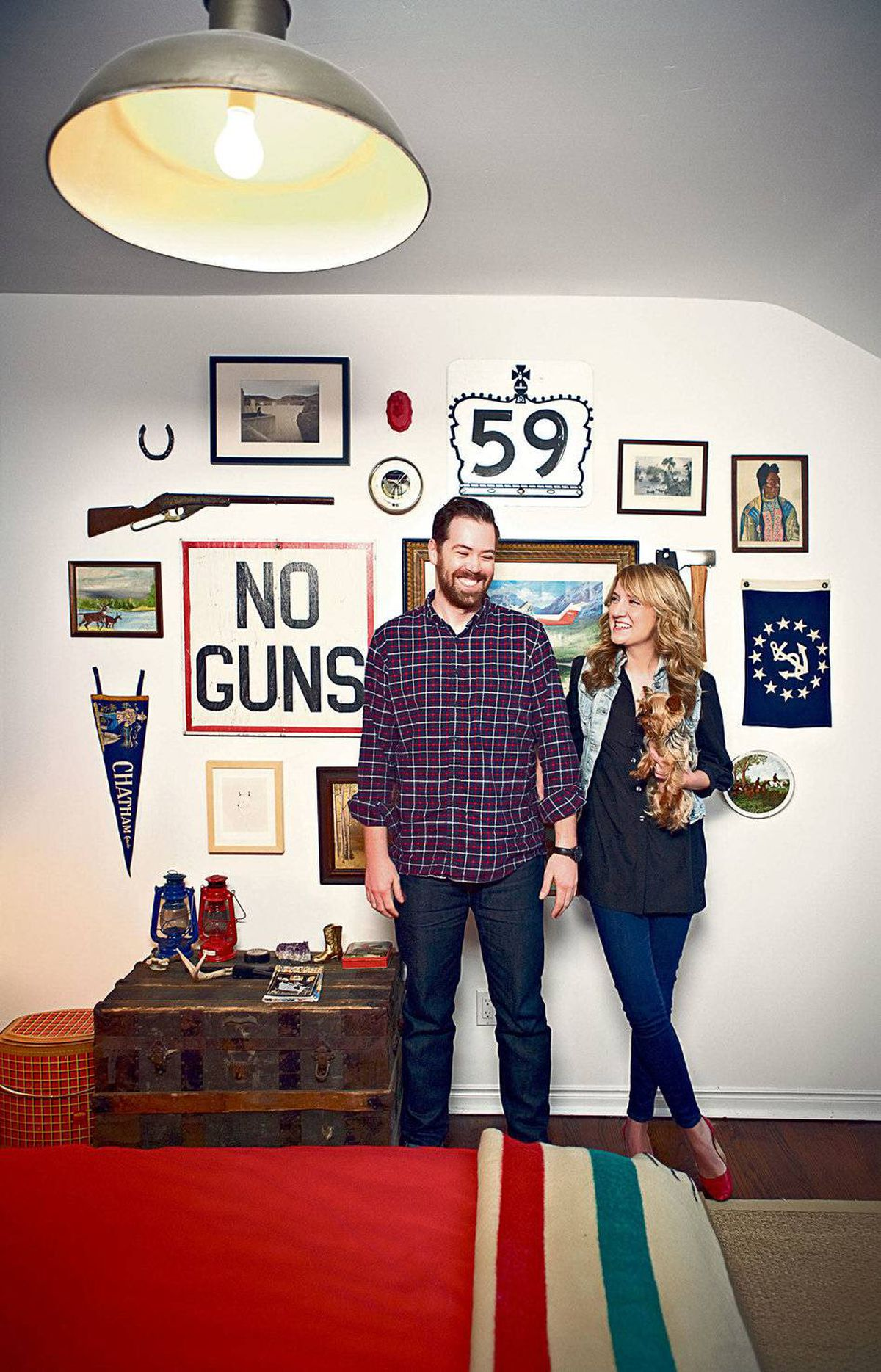 From the vintage Hudson's Bay point blanket at the foot of the bed to the eclectic collection of wall art, the look of James Milward and Sarah Foelske's 'weekend' bedroom is heavy on Canadiana.
