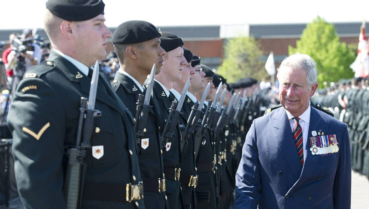 Prince Charles inspects the honor guard during the official welcome ceremony at CFB Gagetown in Oromocto, N.B., on Monday, May 21, 2012. The royal couple are on a three-day visit to Canada to mark the Queen's Diamond Jubilee.