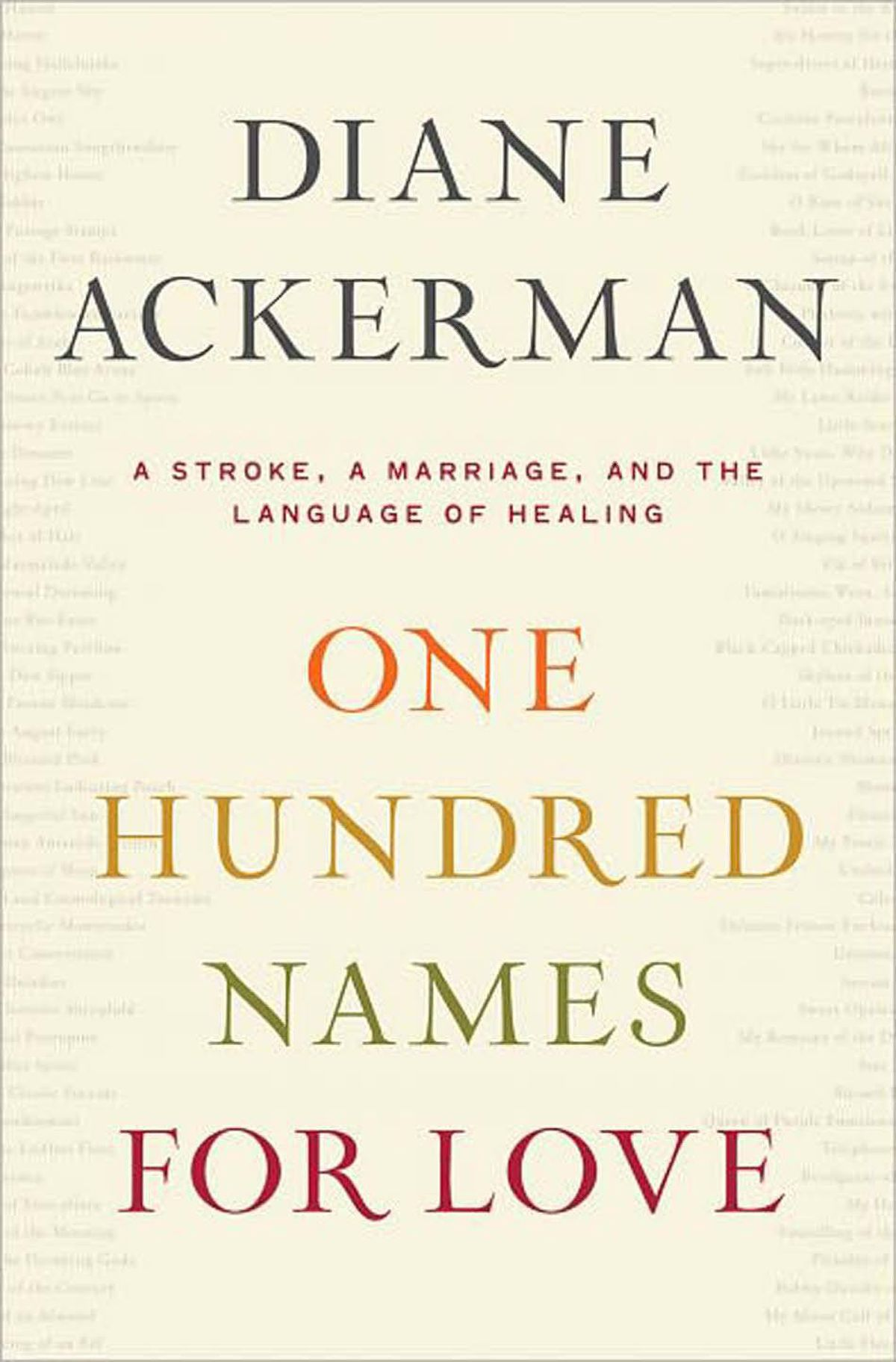 ONE HUNDRED NAMES FOR LOVE A Stroke, a Marriage, and the Language of Healing By Diane Ackerman (Norton) This is a book about life-altering illness and language as balm and bond. Ackerman writes vividly and movingly about the effects of her husband's stroke on her and on her husband, writer Paul West. She writes well about married life, its intimacies and childish pleasures. Often, her writing is startling and evocative. – André Alexis
