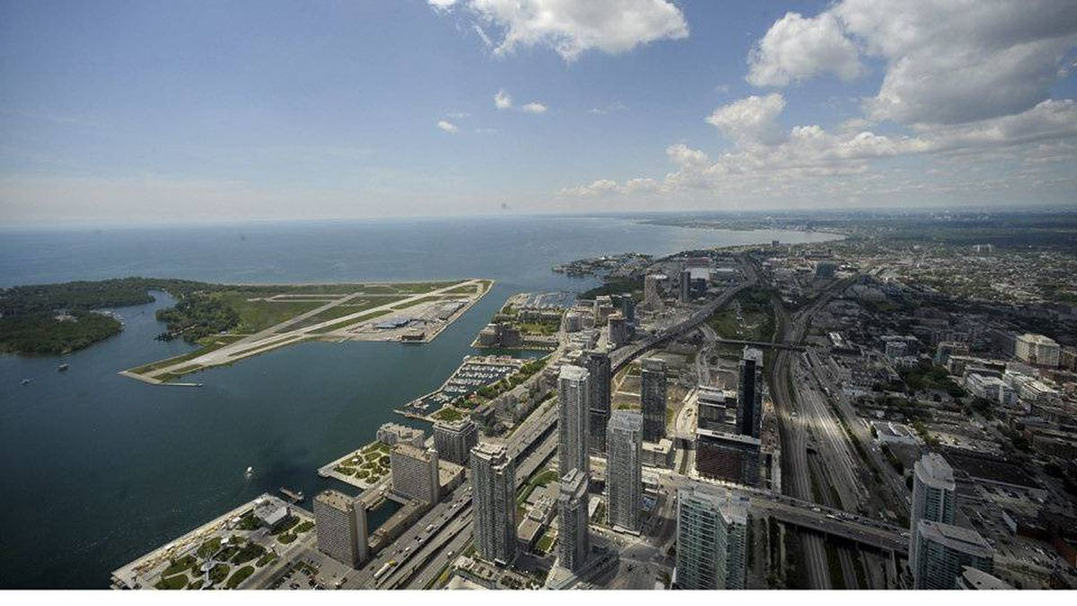The Toronto waterfront area, as seen from the 360 Restaurant at the CN Tower.