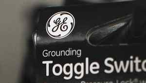 A General Electric Company logo is seen on a toggle switch package in New York January 18, 2012.
