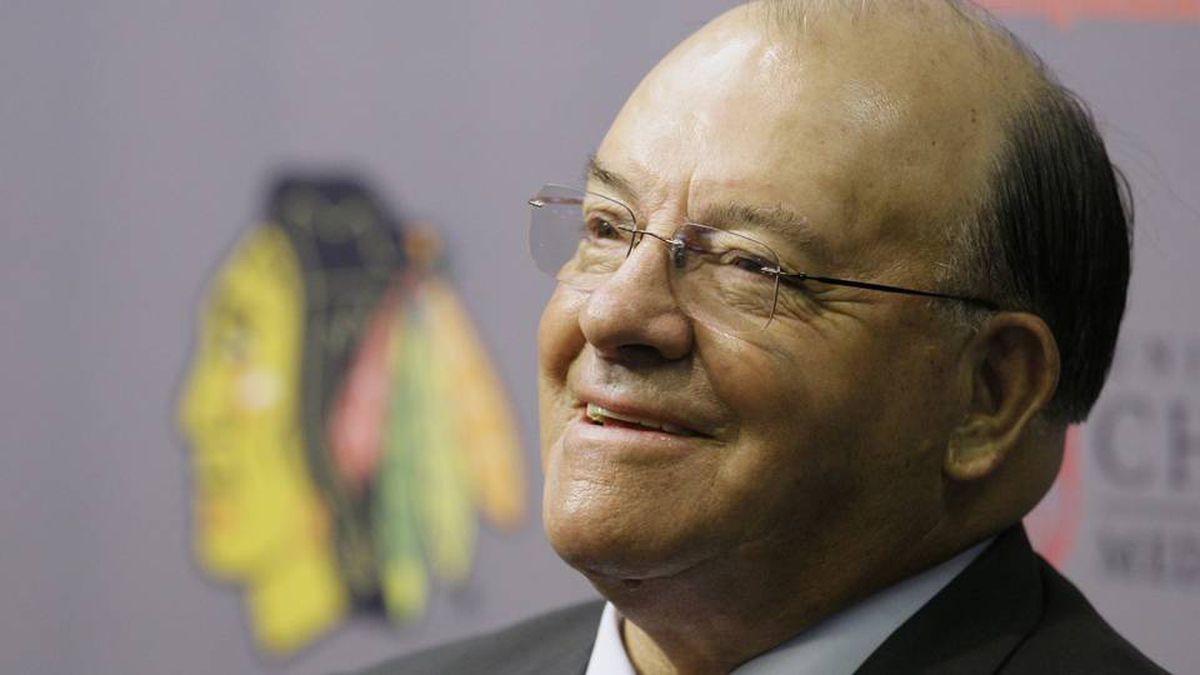Eleven-time Stanley Cup champion Scotty Bowman answers questions as he is introduced as the new senior advisor for hockey operations for the Chicago Blackhawks on Thursday, July 31, 2008.