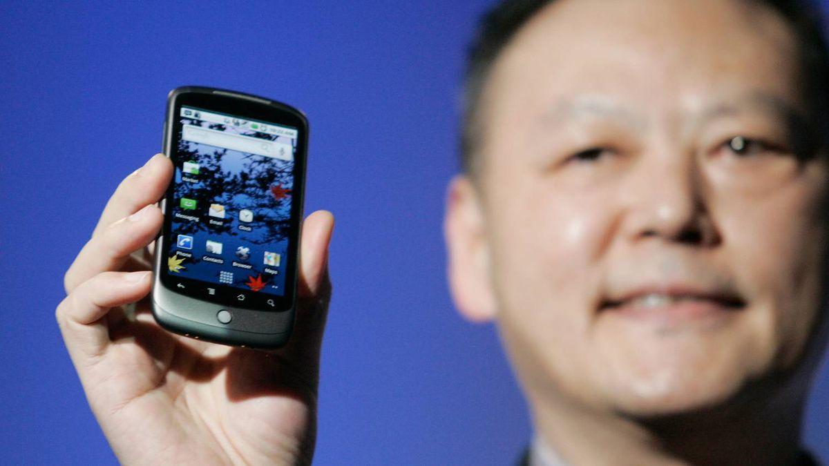 Peter Chou, CEO of HTC, holds the Google Nexus One smartphone his company will produce, running the Android platform