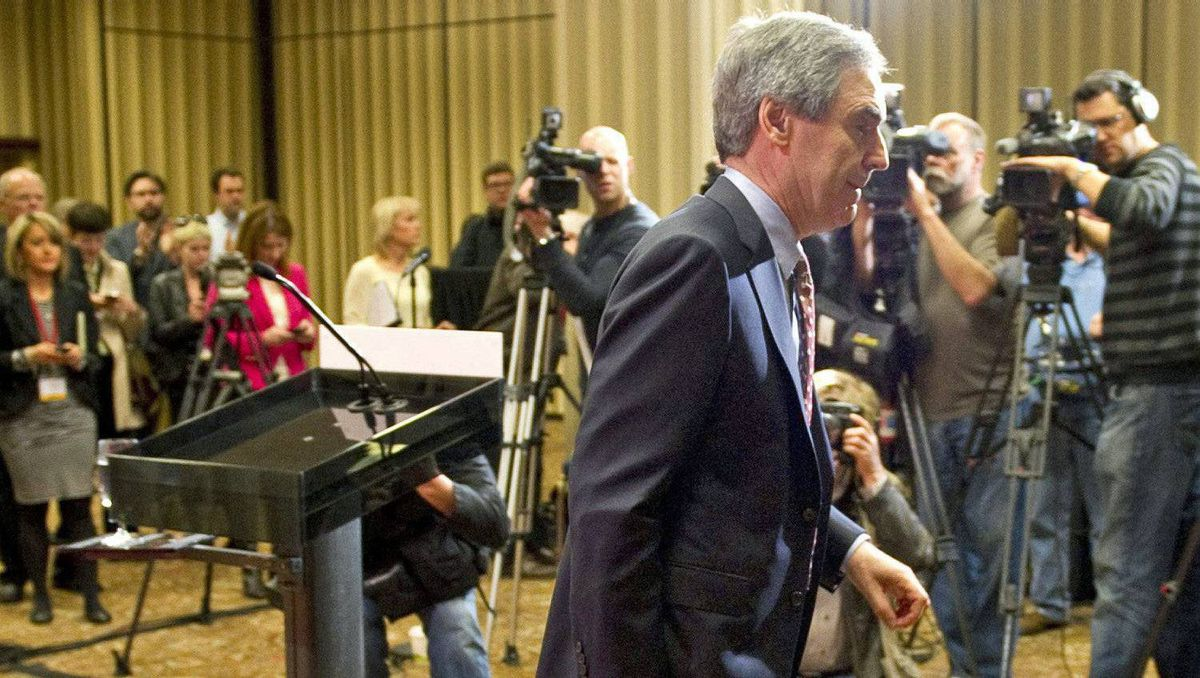Michael Ignatieff leaves the podium after announcing his resignation as Liberal leader in Toronto a day after the federal election on May 3, 2011.