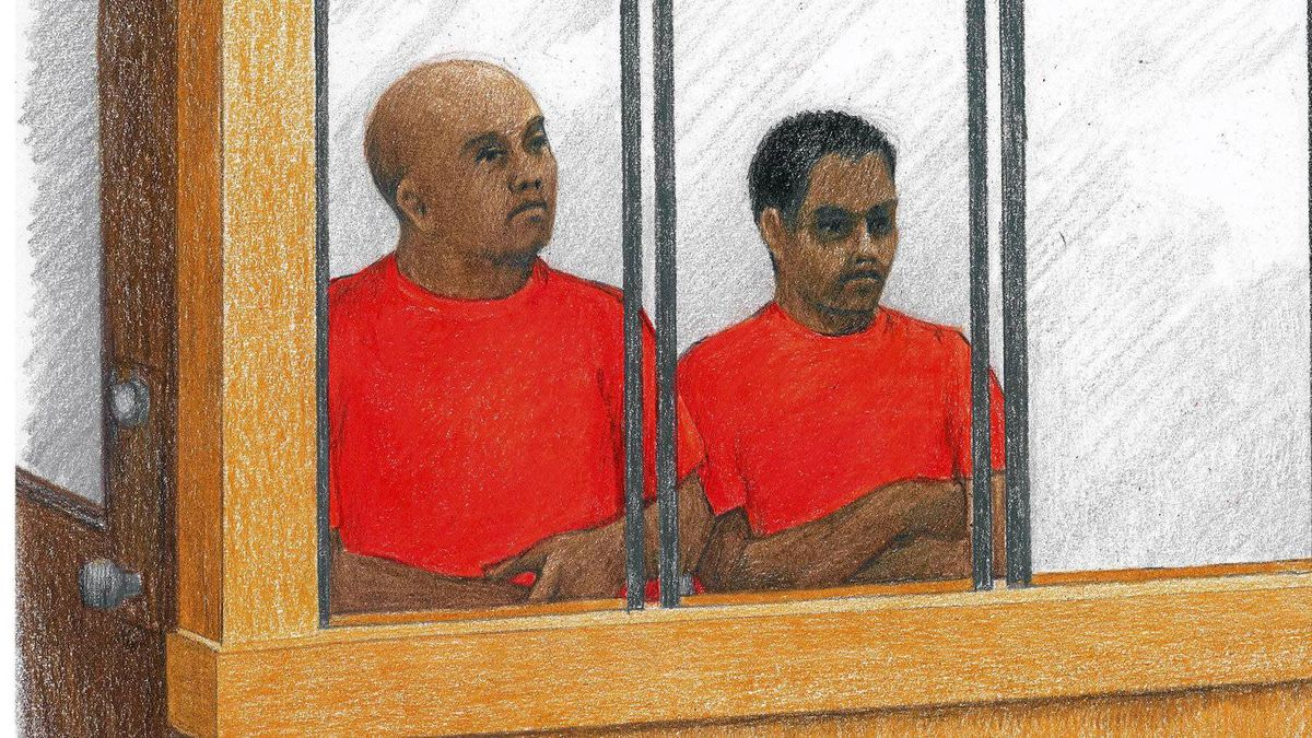 Two men accused of organizing the MV Sun Sea's journey to Canada appear in B.C. Provincial Court in Vancouver on Wednesday, May 16, 2012. It was their first appearance on that charge. Lesly Jana Emmanuel is on the left, with Kunarobinson Christhurajah seated beside him.