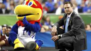 Kansas Jayhawks head coach Bill Self watches his team play against the Ohio State Buckeyes during the first half of their men's NCAA Final Four semi-final college basketball game in New Orleans, Louisiana, March 31, 2012. REUTERS/Jeff Haynes