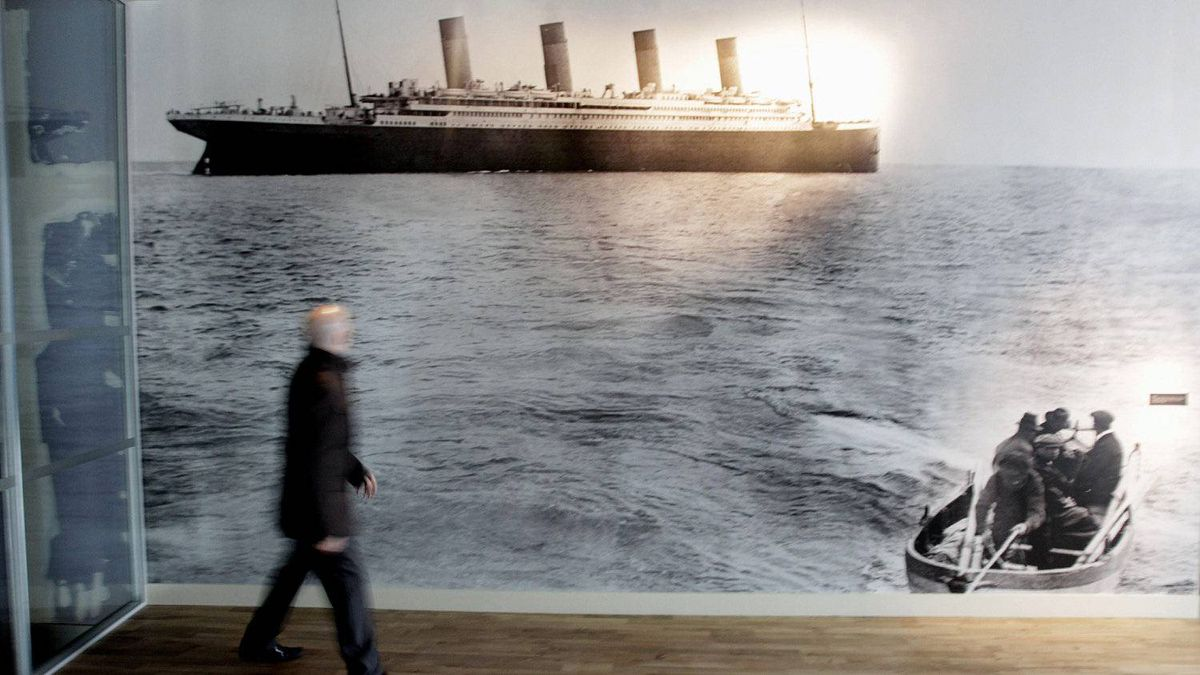 The last photo of the Titanic, taken off the coast of Cork in Ireland, on display in the new Titanic Belfast Visitor's Centre. The famed Harland and Wolff shipyard, builder of the mighty ship, is making the transition to producing green energy equipment.