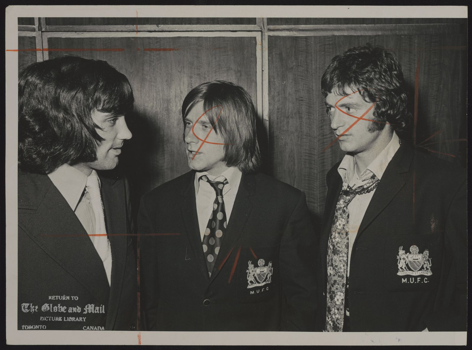 George BEST Soccer Gt. Britain George Best, left, John Fitzpatrick and Willie Morgan of Manchester United show mod look of soccer.