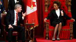 Prime Minister Stephen Harper talks with Governor-General Michaelle Jean before the Speech from the Throne in the Senate chamber in Ottawa on March 3, 2010.