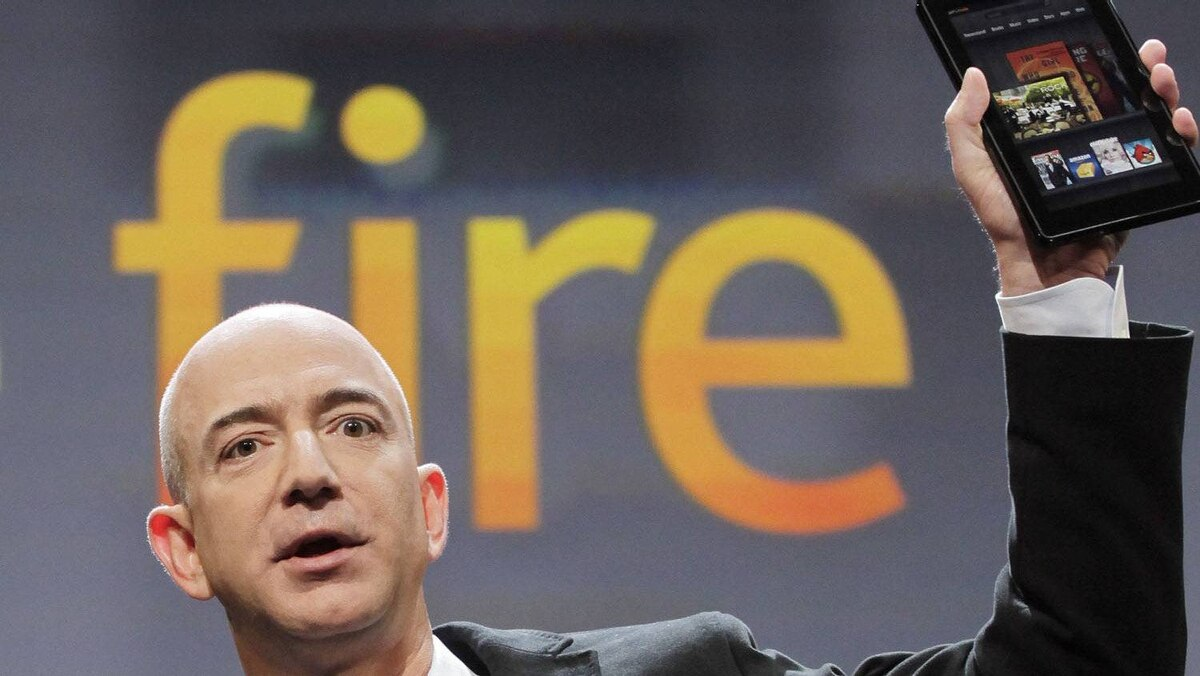 Jeff Bezos, Chairman and CEO of Amazon.com, introduces the Kindle Fire at a news conference, Wednesday, Sept. 28, 2011 in New York.