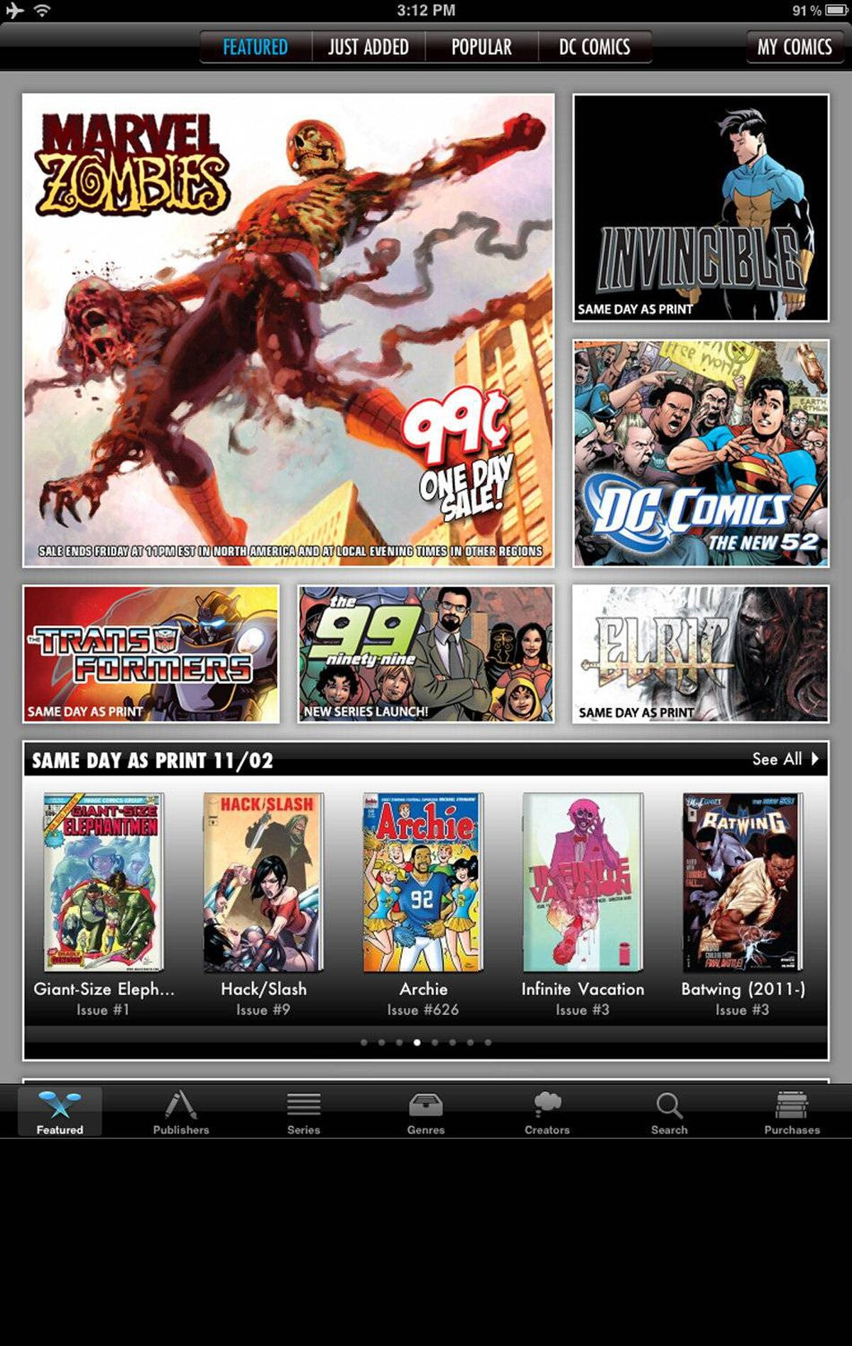 """Comics Comics by comiXology is a free digital comic book reader and bookstore. Browse through thousands of comics from dozens of publishers, tap to buy or download for free. You can read a full page at a time or use """"guided view"""" to zoom panel by panel. Note it does not support the cbr, cbz, and rar file formats that are often used to share comics on the internet illegally. (Free to install, in-app comic purchases vary, comixology.com/)"""