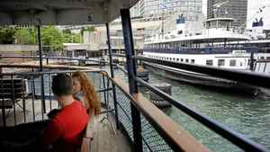 Passengers on the Trillium ferry after returning from Ward's Island on May 31 2012. Very shortly, passengers making the trip to the Toronto Islands will be departing from the soon to be renamed Jack Layton Ferry terminal, located at the foot of Bay St..