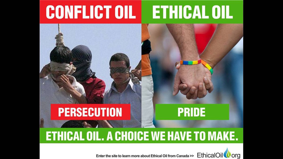 The EthicalOil.org site proffers that consumers must choose between oil that comes from countries that repress gays and lesbians or oil produced by countries that celebrate gays and lesbians. Creator Alykhan Velshi says the image on the left shows gays being hanged in Iran. The image on the right is from Toronto's annual Pride parade.