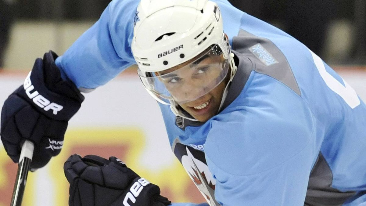 Winnipeg Jets forward Evander Kane skates during the NHL teams training camp in Winnipeg September 17, 2011. REUTERS/Fred Greenslade