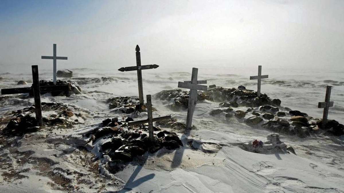 A Inuit cemetery outside the small town of Baker Lake, Nunavut. The territory is trying to bring its high suicide rate into line with the national average.