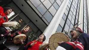 Native protestors demonstrate at Enbridge headquarters in Vancouver in December of 2010.