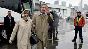 Liberal Leader Michael Ignatieff and his wife Zsuzsanna Zsohar leave Toronto on May 3, 2011.