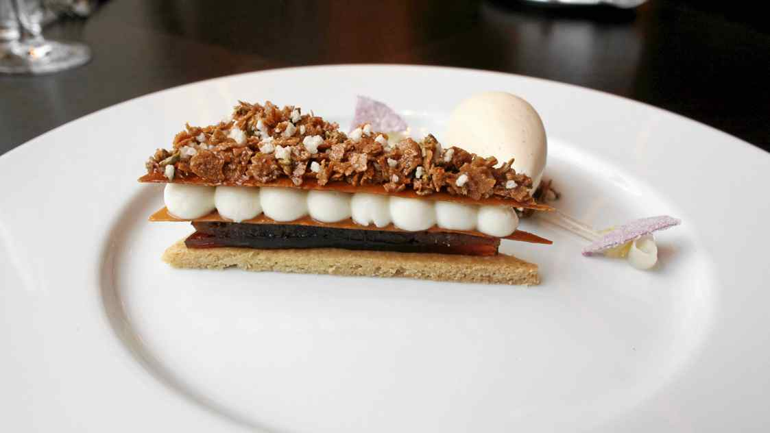 Taffety Tart at Dinner by Heston Blumenthal is an exquisite blend of apple, rose petal and fennel-seed flavours.
