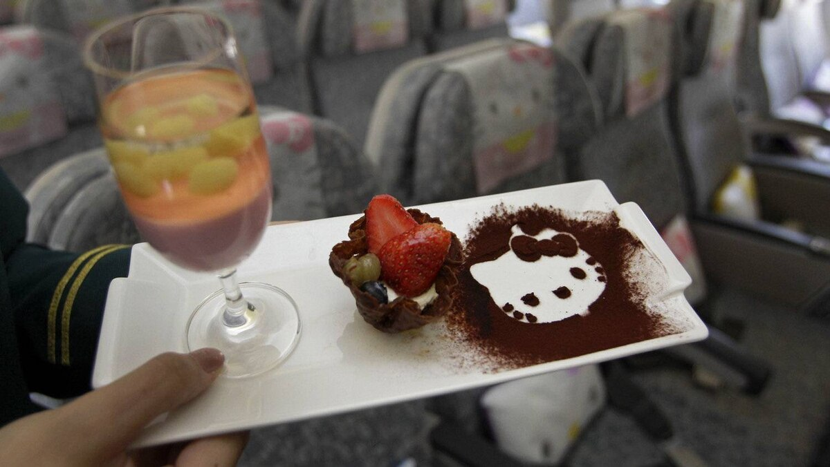 And here's a A Hello Kitty in-flight dessert. Of course.