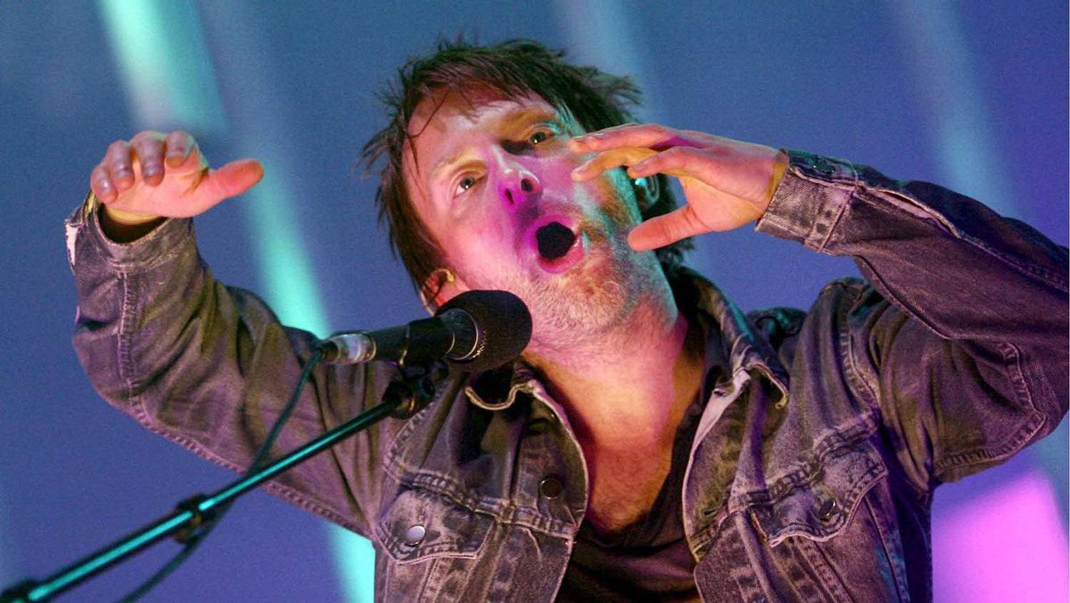 Bobbleheaded lead singer Thom Yorke of Radiohead performs in Germany in 2008: The band will be bringing it summer tour to Montreal and Toronto in June 2012.