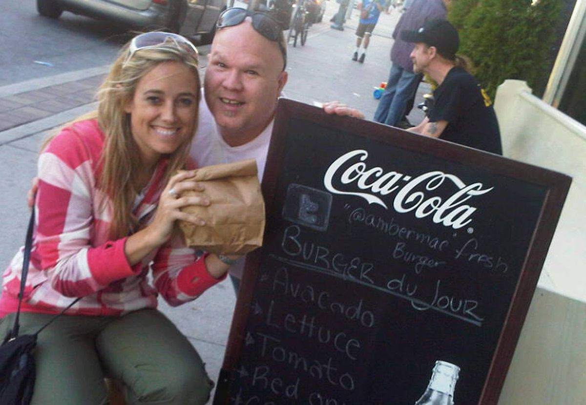 Amber with Greg Hewitt and the @ambermac burger
