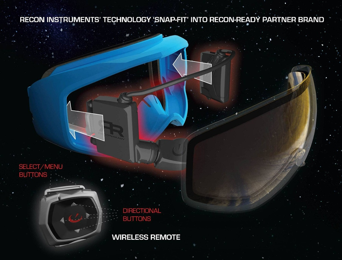Recon Instruments will offer a real?time navigational system with easy to use, direct?to?eye trail maps.