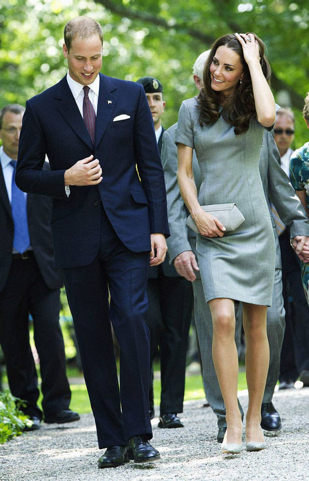 The Duke and Duchess of Cambridge leave after performing a ceremonial tree planting at Rideau Hall in Ottawa on Saturday, July 2, 2011.