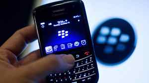 A BlackBerry handset made by Research In Motion Ltd.