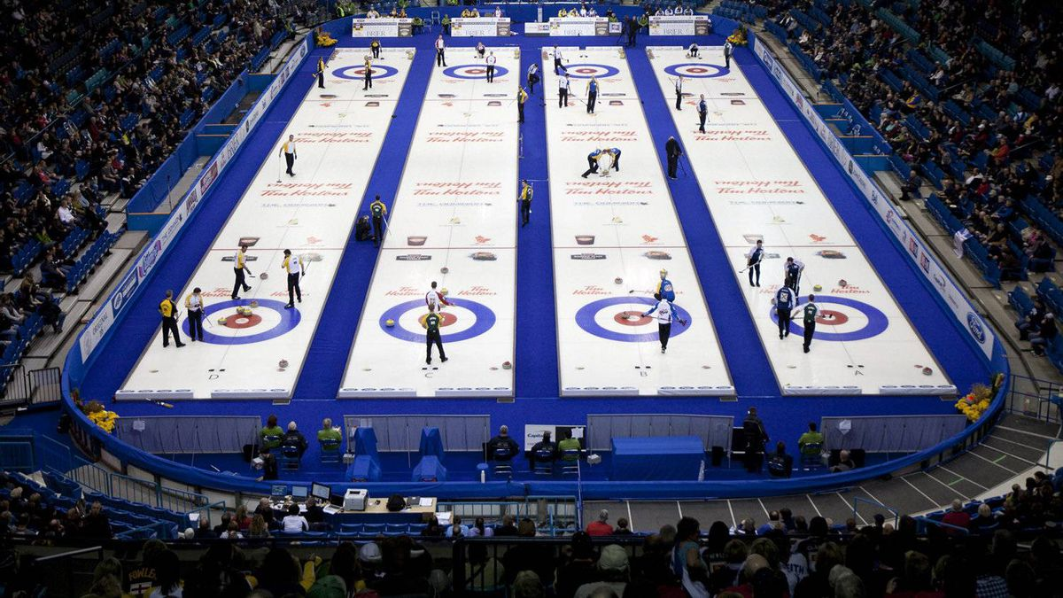 Curling fans crowd into the Credit Union Centre to watch the evening draws at the Tim Hortons Brier in Saskatoon on Saturday, March, 3, 2012. THE CANADIAN PRESS/Jonathan Hayward