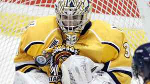 Shawinigan Cataractes goalie Gabriel Girard makes a saves against the London Knights during the third period of their Memorial Cup final ice hockey game in Shawinigan, Quebec, May 27, 2012. REUTERS/Mathieu Belanger