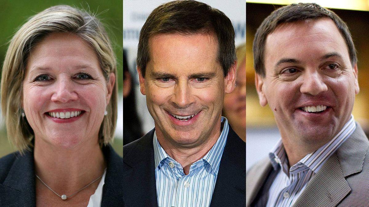 Ontario party leaders, from left: New Democrat Andrea Horwath, Liberal Dalton McGuinty, Progressive Conservative Tim Hudak.