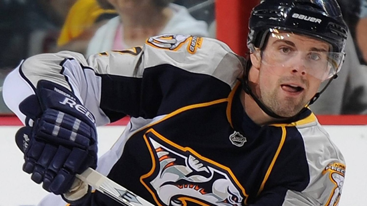 Dan Hamhuis #2 of the Nashville Predators skates against the Chicago Blackhawks in Game Three of the Western Conference Quarterfinals during the 2010 NHL Stanley Cup Playoffs at Bridgestone Arena on April 20, 2010 in Nashville, Tennessee. (Photo by John Russell/NHLI via Getty Images)