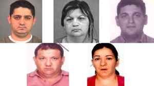 Human trafficking suspects, clockwise from top left: Attila Kolompar, 35; Gizella Domotor, 42; Gyula Domotor, 32; Gizella Kolompar, 41; Lajos Domotor, 42.