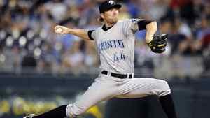 Toronto Blue Jays relief pitcher Casey Janssen winds up June 6, 2011.