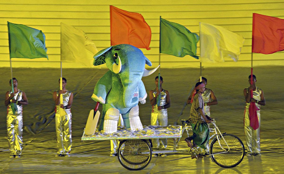 Stumpy, the mascot of the Cricket World Cup is carried on a rickshaw during the opening ceremony at the Bangabandhu National Stadium in Dhaka, February 17, 2011.