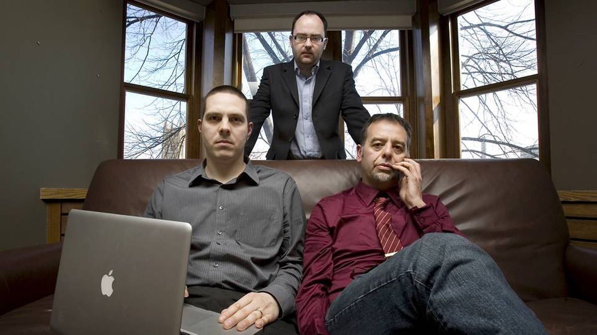 Nart Villeneuve, Greg Walton and Ronald J. Deibert, discoverers of GhostNet, at the Munk Centre in Toronto on March 29 2009.