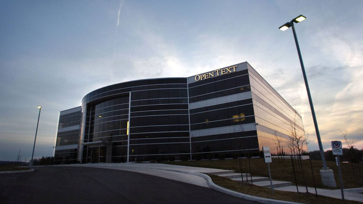 The Open Text building in Waterloo, Ont. Revenue at the company also improved, rising 20.2 per cent to $321.5-million (U.S.).